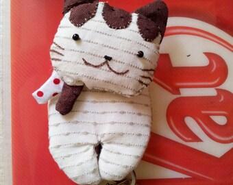 Handmade Brown Cat Key Holder, Craft for Kids, Handcraft, sewing, sew for kids, ShineKidsCrafts
