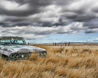 abandoned car field sky clouds vintage Wyoming 10x20