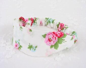 WHITE HEADBAND - Elastic Headband - Women and Girl Headband - Floral Hairband - Stretchy Headband