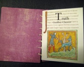Handbound book, Chaucer's 'Truth', artists book, illustrated,coptic stitch, Medieval,