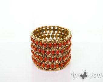 Wide Stretch Bracelet with Epoxy Orange Stone