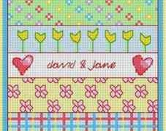 Anniversary Patchwork - counted cross stitch Chart.  Modern design for a special anniversary.  Personalise the sampler with names and dates.