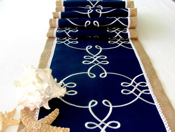 Burlap And Lace Table Runner Extra Long Embroidered Navy Blue