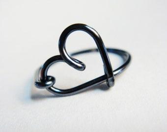 Heart Rings   Black Rings    Black Heart Ring