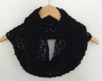 Black Infinity scarf / Crochet cowl , black cowl, crochet infinity scarf, winter fashion scarf ready to ship
