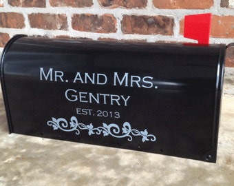Personalized Mr. and Mrs. Wedding Card Mailbox Decal -  30 Colors Available