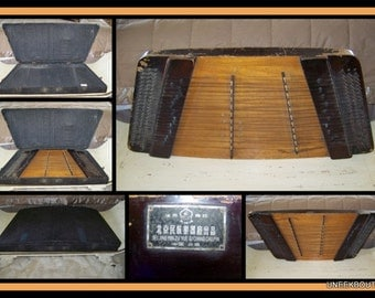 Antique Chinese Dulcimer Zither -Guzheng -Harp -String Instrument - From BeiJing Opera - Original Case -Antique Musical Instrument, Artwork