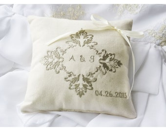 Monogrammed Ring Bearer Pillow ,wedding ring pillow, wedding pillow ,  embroidery wedding pillow (R62)