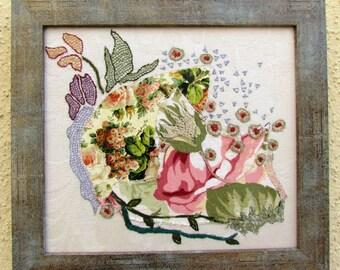 FLOWERS BLOOM, hand embroidery, mixed media, wall hanging, wall decor, fiber art, OOAK