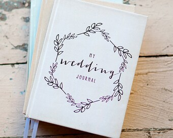 wedding journal notebook wedding planner personalized customized bridal shower guest book custom design calligraphy keepsake gift