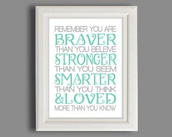Nursery Art Print - In Any Color,  Print, Always Remember You Are...........
