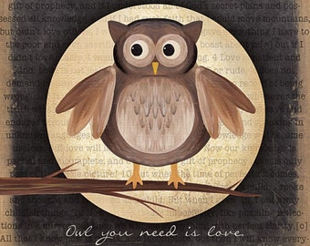 MA713 - Owl you need is love with painted owl...natural colors / Textured, finished wall decor ready to hang by Marla Rae