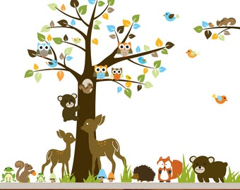 Nursery Vinyl Wall Decal Sticker Forest woodland animal,deer,fox,armadillo, squirrels with owls and birds