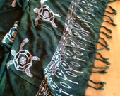 PRICE REDUCED: Hand dyed green sarong with Honu turtle and tribal design and Hand-knotted fringe