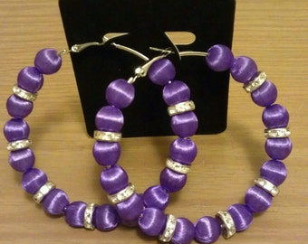 Basketball wives and love and hip hop inspired 70mm hoop with purple beads and silver spacers