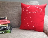 Throw Pillow Case - Cloud Story - Embroidered Motive - Red Felt and White Embroidery -  small - 40x40 - PumpkiAndMo