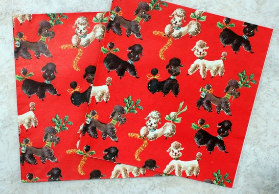 Christmas Poodle Dog Gift Wrapping Paper By