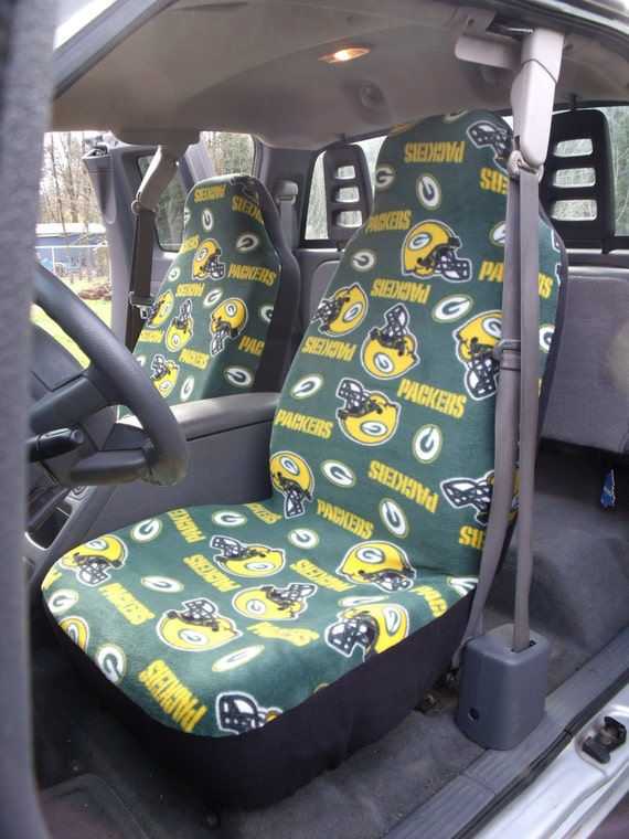1 set of nfl green bay print custom made car seat covers. Black Bedroom Furniture Sets. Home Design Ideas