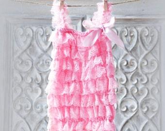 Baby girl  light  pink Lace Romper, Petti romper, Lace Petti Romper, Romper flower girl