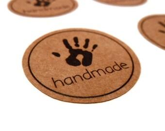 Handmade Sticker -  Round Sticker - Kraft Sticker - Small Kraft Sticker - Kraft Label - 1.25 inches - 36 Count - Handmade