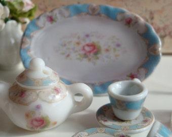 Dollhouse Miniature Staffordshire Rose Blue Teapot.