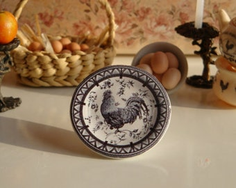 Queen's French Country Rooster Black Dollhouse Miniature Plate