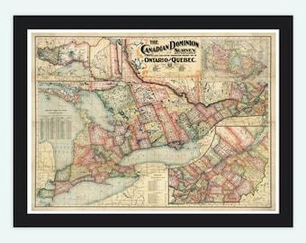Old Map of Canada Quebec Ontario North America 1899