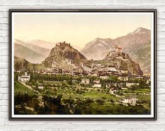 Vintage Photo of Sion, Valais, Switzerland 1895