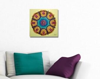 Original mandala painting, spiritual art, meditation art, mandala art, blue violet