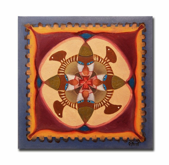 ORIGINAL mandala painting, spiritual art, meditation art, mandala art, geometric art, blue purple
