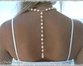 SALE Back drop natural cultured freshwater pearl necklace with rhinestone elements. Perfect as wedding jewelry