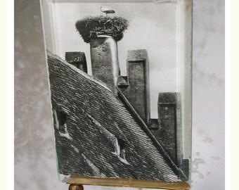 French antique  solid bronze Vanity gilt photo holderr art nouveau Beveled Glass crystal photo holder ornate flower