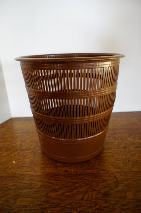 vintage round brown trash can bathroom or office woven plastic gerda