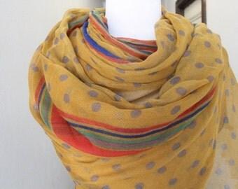 Fashion scarf   with polka dot print