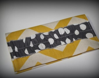 Ruffled Checkbook Covers, Yellow Chevron and Gray and White Dots