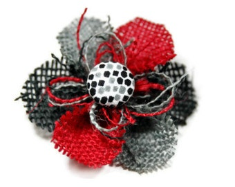 Red, Gray and Black Burlap Flower Pin - Black, White and Gray Center