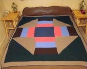 Handmade Wool Blanket , Queen or Full Size Quilt Bed Topper