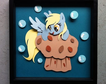 "12"" x 12"" Derpy on a Muffin Shadowbox"