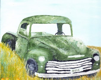 Classic Green ChevyTruck Reproduction Painting 8x8
