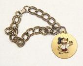 HOLD for Katie / 1950s Disney Mickey Mouse Drop Round Charm Bracelet / Disneyana / Disneyland Souvenir
