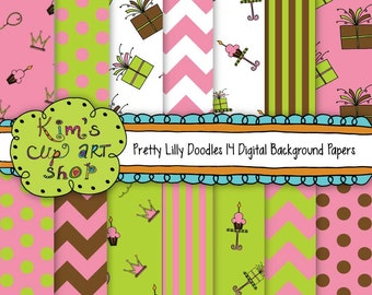 Pretty Lilly Doodles Digital Paper Pack
