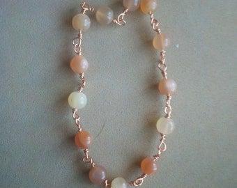 Peach Moonstone & Copper Wire Bracelet