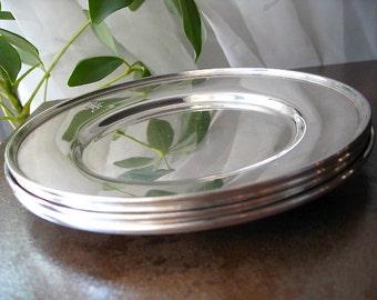 Four Sterling Silver Dessert / Canape Plates - Matthews Co. c1936
