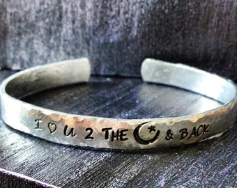 Personalized Bracelet,  Engraved Bracelet, I love you to the moon & back 1/4""