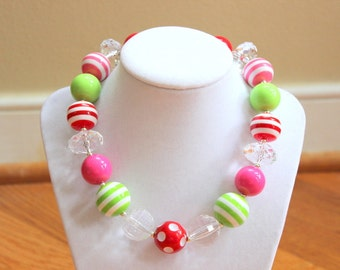 girls chunky bubblegum bead necklace watermelon necklace summer strawberry necklace lime green pink red beads chunky bead bubble gum bead