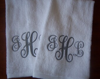 Personalized Monogrammed Hand Towels- Choose Your Thread Color - Great Wedding Gift