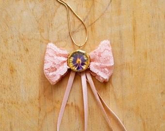 Organza, bowtie necklace