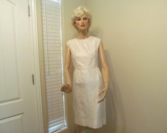 1960's Brocade Dress Wedding Suit Sleeveless Dress Matching Jacket