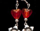 Tibetan silver flower earrings with red glass hearts