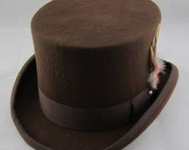 STTHBR - Brown Wool Felt Top Hat in sizes 54.5-61cm circumference.